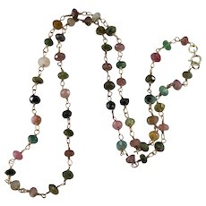 Natural Tourmaline Necklace 10k Gold Mixed Color Tourmaline Gemstone Chain