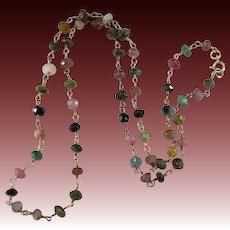 Natural Tourmaline Necklace 10k Gold Mixed Color Tourmaline Gemstone Chain