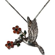 Coral Turquoise Hummingbird Pendant 925 Sterling Silver Box Chain Necklace