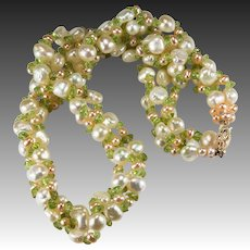 Pink White Pearl Peridot 14k Gold Cultured Freshwater Pearl Three Strand Necklace
