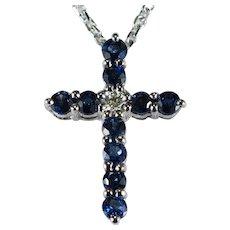 Sapphire Diamond Cross 18k Gold Sapphire Pendant Necklace 14k Chain