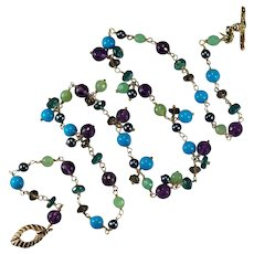 Sleeping Beauty Turquoise Jade Amethyst Topaz Quartz Pearl 14k Gold Gemstone Chain