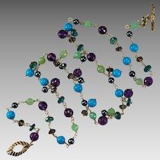 Sleeping Beauty Turquoise Jade Amethyst Topaz Quartz Pearl 14k Gold Gemstone Chain