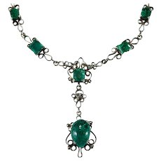 Natural Emerald Old Rose Cut Diamond Necklace 14k Gold Hand Crafted Emerald Lavalier Necklace