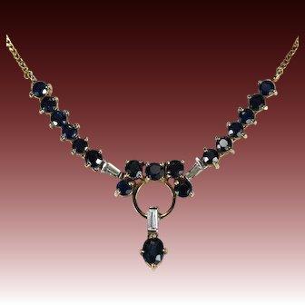 Uno-A-Erre Sapphire Diamond Necklace 14k Gold Emerald Cut Diamond Sapphire Lavalier Necklace