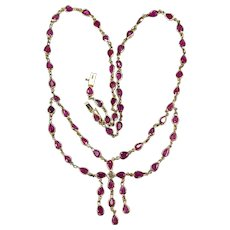 Ruby Diamond Necklace 14k Gold Bezel Set Gemstone Chain Festoon Lavalier Necklace