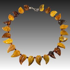 Russian Natural Amber Necklace Baltic Egg Yolk Butterscotch Carved Amber Leaves Sterling Necklace