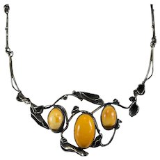 Poland Butterscotch Amber Hand Crafted 925 Sterling Vine Flower Necklace