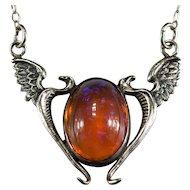 Vintage Art Glass Dragons Breath Phoenix 925 Sterling Necklace Double Phoenix Bird