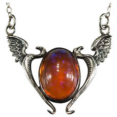 Vintage Art Glass Dragons Breath Phoenix 925 Sterling Necklace Double Phoenix Bird