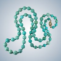 """Vintage Chinese Carved Turquoise Shou Bead Necklace 14K 25.5"""""""