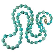 Vintage Chinese Carved Turquoise Shou Bead Necklace 14K 25.5""