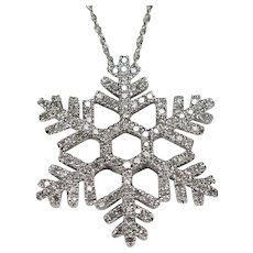 Diamond Snowflake Pendant 1.92ctw 14k Gold Diamond Necklace Link Chain