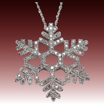Diamond Snowflake Pendant 1.92ctw 14k Gold Diamond Necklace Link Chain