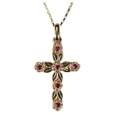 Ruby Cross Pendant 14k B. A. Ballou Designer Necklace