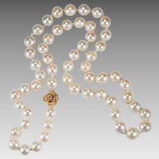 Vintage Baroque Pearl Necklace 14k Rose Gold South Sea Pearl Necklace