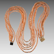 Natural Coral Necklace 14k Gold 6 Strand Gold Bead Coral Beaded Necklace