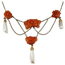 Antique Carved Coral Roses Pearl Necklace 14k Gold Natural Coral Festoon Necklace