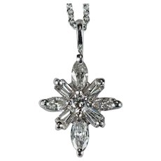 North Star Diamond Pendant 14k Gold Chain Natural Diamond Necklace