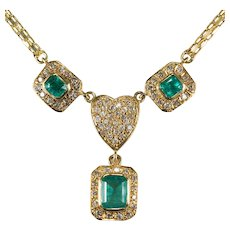 Emerald Diamond Heart 14k Gold Pave Diamond Heart Bezel Set Emerald Necklace