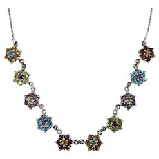 Mixed Gemstone Flower Necklace 925 Sterling Silver Amethyst Peridot Citrine Topaz Garnet Flowers