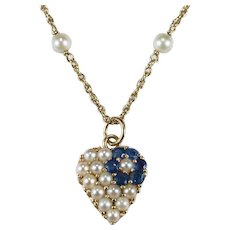 Sapphire Pearl Heart Pendant 14k Gold Pearl Chain Necklace