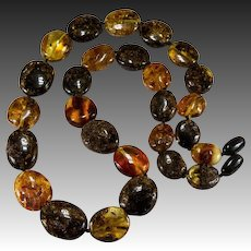 Natural Amber Mixed Bead Semi-Rough Amber Necklace Beaded Strand