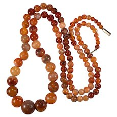 "Hand Polished Natural Carnelian Necklace 37"" Opera Length 9k Gold Agate Strand"