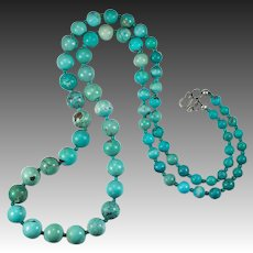 "Vintage Mixed Turquoise Bead Necklace 925 29"" Turquoise Strand"