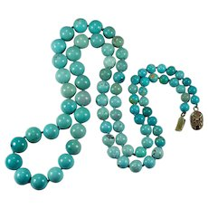 Vintage Chinese Turquoise Bead Necklace Gold Wash 925 28""