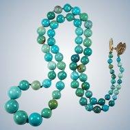 "Vintage Chinese Turquoise Beaded Necklace Gold Wash 925 23"" Turquoise Strand"