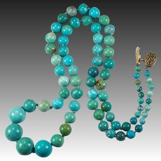 "Vintage Chinese Turquoise Beaded Necklace Gold Wash 925 23"" Turquoise Strand"
