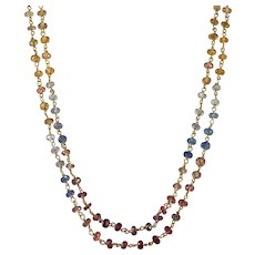 Rainbow Sapphire Necklace 30ctw 18k Gold Natural Sapphire Nugget Gemstone Chain