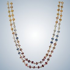 Rainbow Sapphire Necklace 30ctw 18k Gold Genuine Sapphire By The Yard Nugget Gemstone Chain