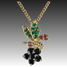 Ruby Sapphire Emerald Bee Pendant 14k Gold Wasp Mixed Gemstone Bee Jewelry Chain Necklace