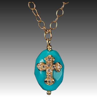 Hand Crafted Diamond Cross Persian Turquoise Necklace 14k Gold Turquoise Pendant Link Chain