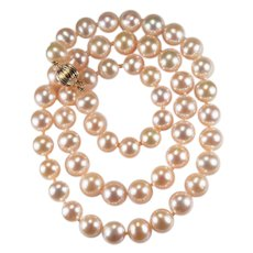 Rare Blush Pink Genuine Pearl Strand 14k Gold Fine Round Akoya Cultured Pearl Necklace
