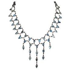 Natural Moonstone Festoon Necklace 48ctw 925 Sterling Silver Bezel Set Rainbow Blue Moonstone Chain