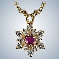 Ruby Diamond Necklace 14k 585 Link Chain Diamond Ruby Snowflake Pendant Necklace