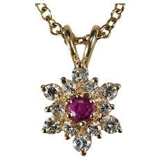 Ruby Diamond Necklace 14k 585 Link Chain Diamond Ruby Snowflake Pendant Necklace