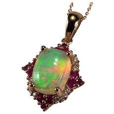 Natural Opal Ruby Diamond 10k Rose Gold Necklace