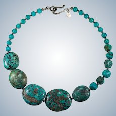 Navajo Natural Spiderweb Turquoise Sterling Necklace Turquoise Chunk Slab Nugget Necklace