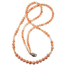 """Opera Length 33"""" Natural Angel Skin Coral Necklace Sterling Mixed Coral Strand"""