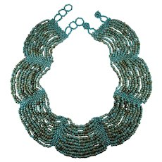 Vintage Turquoise Glass Beaded Scallop Collar Necklace Hand Crafted