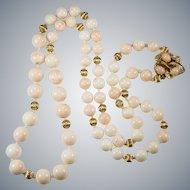 "Opera Length 32"" Natural Angel Skin Coral Strand 14k Gold Necklace"