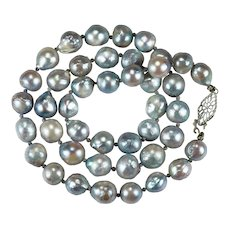 Silver Peacock Baroque Pearl Strand 10k Gold Genuine Cultured Pearl Necklace