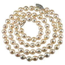 Opera Length Baroque Pearl Necklace 14k Gold Cultured Akoya Pearl Necklace