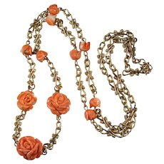 Natural Carved Coral Rose Necklace 14K Gold Opera Length Coral Link Chain