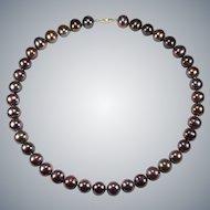 Black Chocolate Peacock Tahitian South Sea Pearl Strand 14k Gold Cultured Genuine Pearls