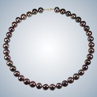 Black Chocolate Peacock Tahitian South Sea Pearl Strand 14k Gold Cultured Genuine Pearls